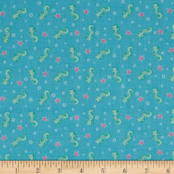 Andover/Makower Mermaid Seahorses Blue Fabric