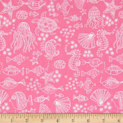 Andover/Makower Mermaid Outline Tonal Pink Fabric