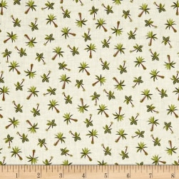 Andover/ Makower UK Rex Palm Trees White Fabric
