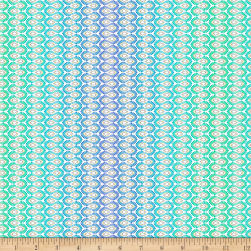 QT Fabrics Enchanted Floral Wavy Stripe Blue Fabric