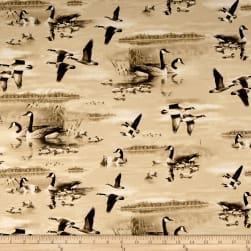 QT Fabrics Flying Geese Geese Lake Scenic Tan