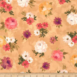 QT Fabrics Lilian Tossed Floral Dark Tan Fabric