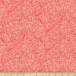 QT Fabrics Lilian Textured Scroll Pink Fabric