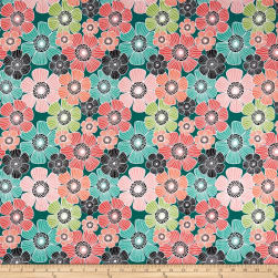 QT Fabrics Piece Of Cake Packed Flowers Juniper
