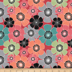 QT Fabrics Piece Of Cake Packed Flowers Red