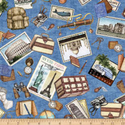 QT Fabrics Wanderlust Travel Toss Blue