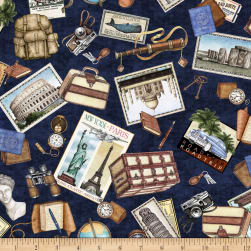 QT Fabrics Wanderlust Travel Toss Navy Fabric