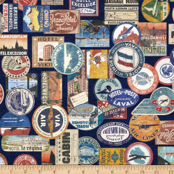 QT Fabrics Wanderlust Luggage Labels Navy Fabric