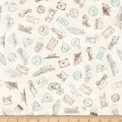 QT Fabrics Wanderlust Passport Stamps Cream