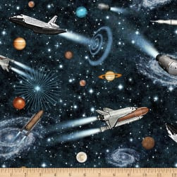 QT Fabrics Intergalactic Space Ships Black