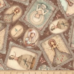 QT Fabrics Lost Song Girl Overlapping Patches Brown