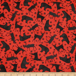 QT Fabrics Moose Trail Lodge Animal Silhouettes Red