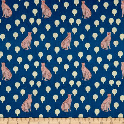 Andover Around Town Cheetahs Cerulean Fabric