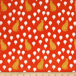Andover Around Town Cheetahs Persimmon Fabric