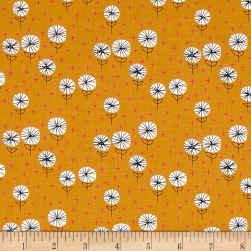 Andover Around Town Dandelions Carrot Fabric