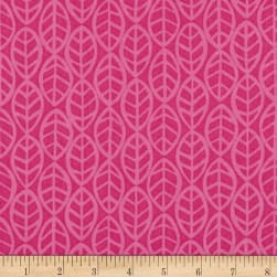 Andover Doodlicious Leaves Hot Pink Fabric