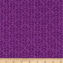 Andover Doodlicious Leaves Violet Fabric