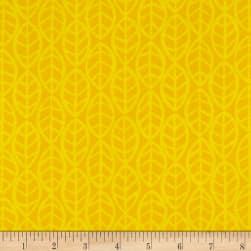 Andover Doodlicious Leaves Yellow Fabric