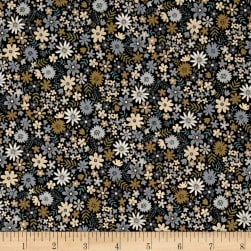 Andover/Makower Bloom Packed Flowers Silver Fabric