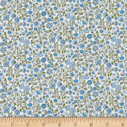 Andover/Makower Bloom Floral Scroll Blue Fabric