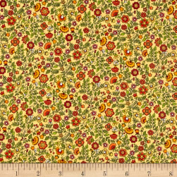 Andover/Makower Bloom Floral Scroll Brown Fabric