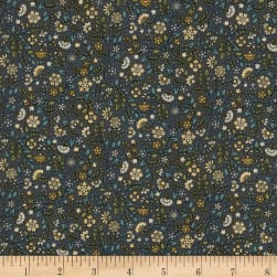 Andover/Makower Bloom Floral Scroll Silver Fabric