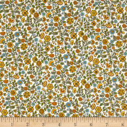 Andover/Makower Bloom Floral Scroll Yellow Fabric