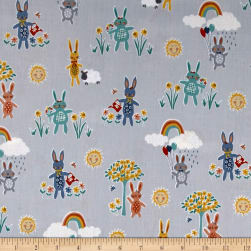Andover/Makower Counting Sheep Bunnies Silver Fabric