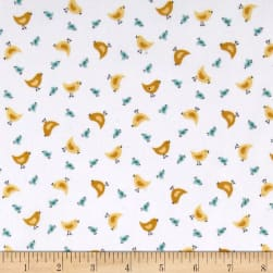 Andover/Makower Counting Sheep Chicks White Fabric