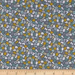 Andover/Makower Counting Sheep Numbers Silver Fabric
