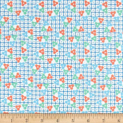Andover Lottie Ruth Lattice Blue Fabric