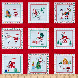 Andover/Makower Jolly Santa Labels Red Fabric