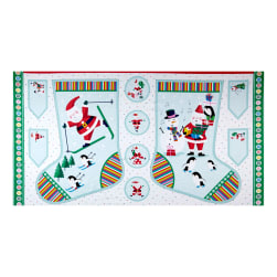 Andover/Makower Jolly Santa Large Stocking 24'' Panel Multi Fabric