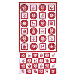 Andover/Makower Scandi 2018 Scandi Advent Pocket 24'' Panel Red Fabric