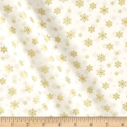 Andover/Makower Silent Night Snowflake Metallic Cream Fabric