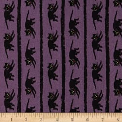 Andover Haunting Snarling Cat Purple Fabric