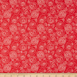 Andover Mosaic Rose Outlines Cherry Fabric