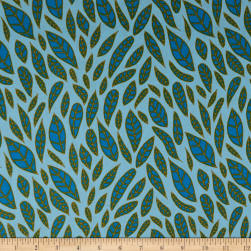 Andover Mosaic Leaves Cerulean Fabric