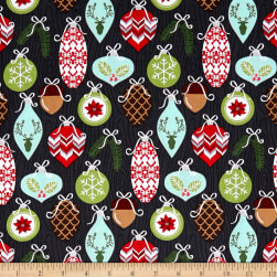 Michael Miller Rustique Winter Trimmings Charcoal Fabric