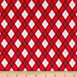 Michael Miller Rustique Winter Gift Wrap Red Fabric