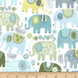 Michael Miller Happy Elephants  Flannel Happy Elephants Blue Fabric