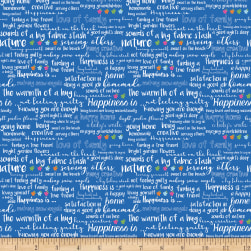 Riley Blake Simply Happy Text Blue Fabric
