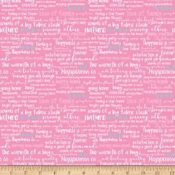 Riley Blake Simply Happy Text Pink Fabric