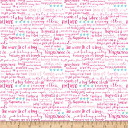 Riley Blake Simply Happy Text White Fabric