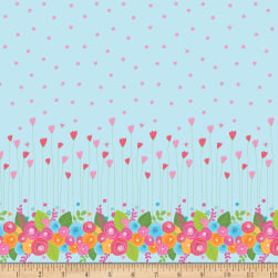 Riley Blake Simply Happy Single Border Blue Fabric