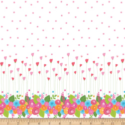 Riley Blake Simply Happy Single Border White Fabric