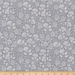 Kaufman Delphine Tonal Flowers Grey Fabric