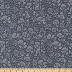 Kaufman Delphine Tonal Flowers Charcoal Fabric