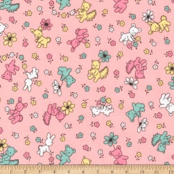 Kaufman Naptime Animals Camellia Fabric
