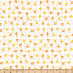 Kaufman Naptime Small Flowers Mango Fabric